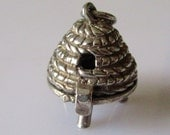 RESERVED   Large Silver Beehive Charm opens to Bee