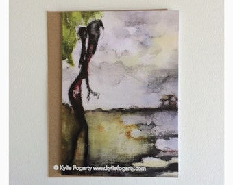 Fine Art Greeting Card, A6 Sized - Beach, Contemporary Landscape, Seascape, Kylie Fogarty, Blank Greeting Card