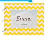 Baby Memory book for ALL Families, Mom & Dad, LGBT, single parents - Yellow Chevron