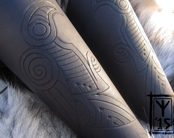 Custom leather bracers with Norse Viking raven design