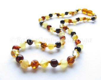 Baltic Amber Teething Necklace, Perfectly Rounded Multicolor Beads