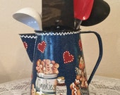 Gingerbread Utensil Holder Upcycled Coffee Pot Kitchen Decor Ginger Collector Home Decor Housewarming Gift Ginger Kitchen Cottage Chic