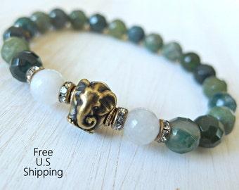 New Begginnings, Elephant bracelet, Moonstone, Moss Agate, elephant mala, Yoga bracelet, Energy bracelet, Healing bracelet, Reiki Charged