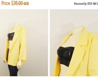 CLOTHING SALE Vintage Blazer 80s Oversized Copy Cat Yellow Spring Jacket Miami Vice Blazer sz small