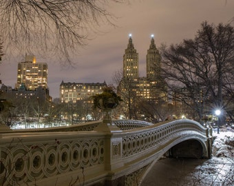 Bow Bridge at Night - Central Park During the Winter - New York City Photography
