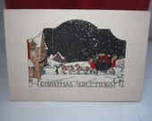 RESERVED 4 D 1920's-30's art deco christmas card,marbleized paper victorian coach inside shows lady,little boy and scotty dog by fireplace