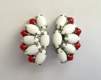 Vintage 1950s Red and White Milk Glass Bead Fan Shaped Earrings
