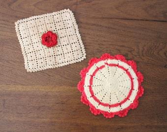 Vintage Handmade Crocheted Kitchen Pot Rest Holders Red Tea Stain