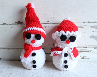 Vintage Crocheted Snowman Snowmen Decor Boy Girl