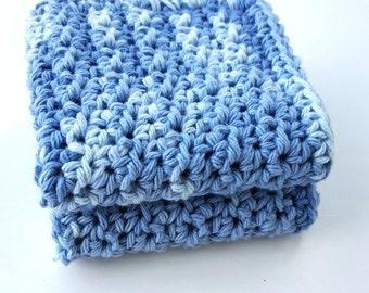 Crochet Washcloth Dishcloth Bathroom Dish Cloth Wash Cloth Spa Cloth Kitchen Blues Set of 2 d