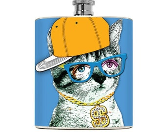Cat Flask Funny Drinking Gifts Womens Flask Mens Liquor Hipster Nerdy Gift Geekery College Girl Hip Flask Girlfriend Kitty Accessories