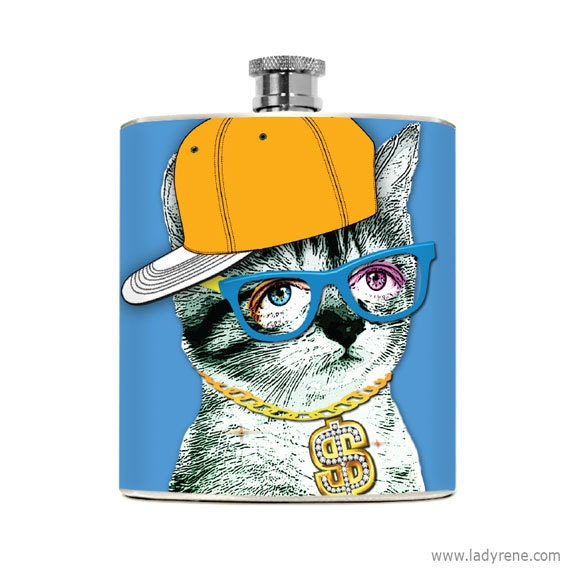 Hipster Kitty Cat Hip Flask Stainless Steel 6 oz Liquor Hip Flask Animal Drinking Gifts Womens or Mens Flask hip hop