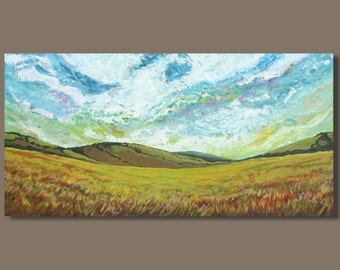 large abstract painting, semi abstract panoramic painting, prairie fields landscape painting, impressionism, wall art, hills, 18x36