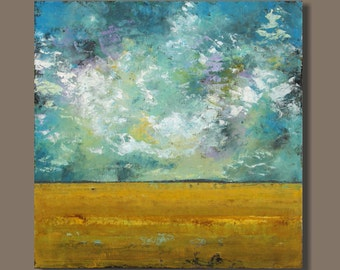 painting on canvas, abstract painting, abstract landscape, clouds, big sky country, golden wheat, large painting, 30x30