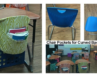 CURVED Chair Pockets // Seat Sacks // Teacher Classroom Organization // Elementary School Covers // Chevron Duck // You Choose // Expandable
