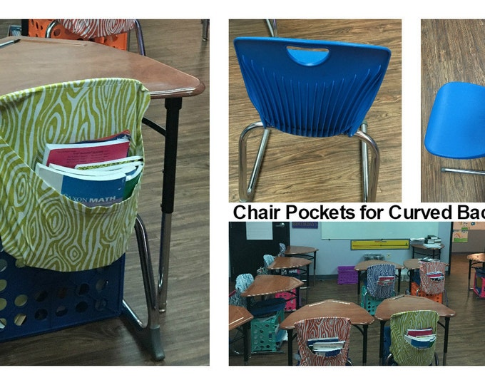Chair Pockets Seat Sacks 4 CURVED Chairs Teacher Classroom Organization Elementary School Covers 4 inch Expandable Pocket Chevron Duck