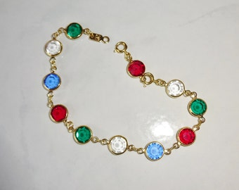 Vintage Swarovski Crystal Bracelet Red Green Blue Gold Tone Bezel Set Crystals