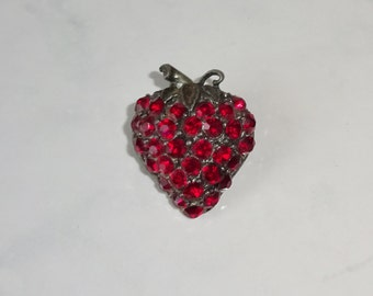 Vintage Brooch Strawberry Rhinestone Strawberry Shaped Brooch