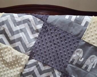 Elephant Patchwork Blanket- Gray Chevron, Gray Ele, Gray Minky, and Light Yellow Minky Patchwork Baby Blanket