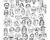 The Faces handdrawn print featuring faces of all shapes and colors -a whimsical addition to your home - available in color or black & white