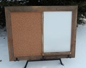 CUSTOM MADE -- Barnwood Framed Message Center with Chalkboard, Dry Erase Board and Corkboard Combination