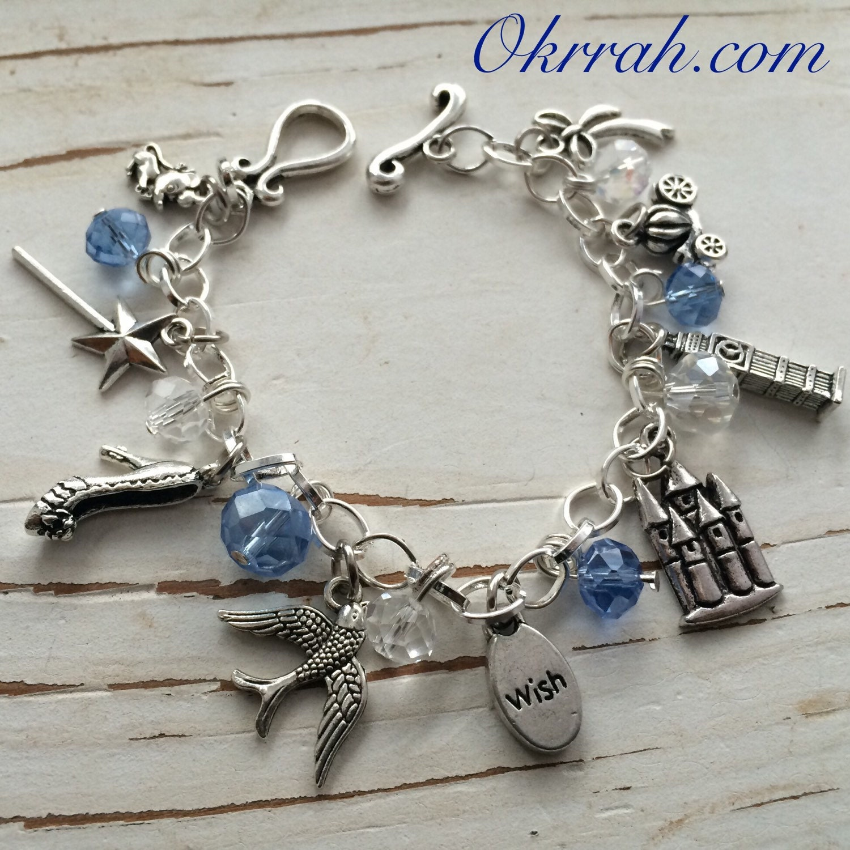 cinderella inspired charm bracelet by okrrah