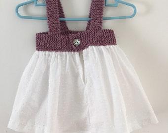 Purple cotton baby dress // 6-12 months