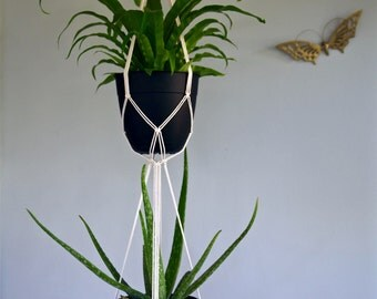 "Macrame Plant Hanger - 60"" Simple - Natural White Cotton Rope - Double Indoor Hanging Planter - Boho Home Decor - MADE TO ORDER"