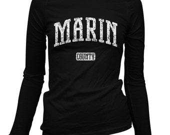 Women's Marin County California Long Sleeve Tee - S M L XL 2x - Ladies' T-shirt, Gift, Marin County Shirt, San Rafael, Sausalito, Novato