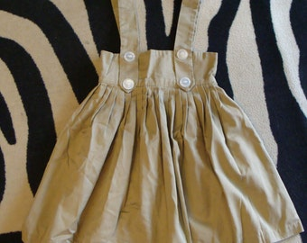 khaki HIGH WAISTED SKIRT with suspenders jumper overall 24 waist
