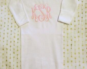 Monogrammed Sleeper Gown 0-6 months