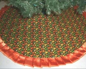 """Halloween Tree Skirt - 47"""" - Bright Cats, Pumpkins & Candy Corn"""