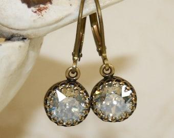 Swarovski Moonlight earrings, crystal earrings, Swarovski earrings, small earring, diamond earrings, bridal earrings, wedding