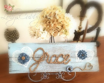 Grace Wood Pallet Sign Rustic Wood Sign Reclaimed Wood Sign Farmhouse Decor
