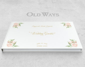 Blush Roses Wedding Guest Book - Rustic Peach Pink & Gold Personalized Floral Wedding Guestbook