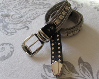Retro Mesh Meta and Leather Silver Belt