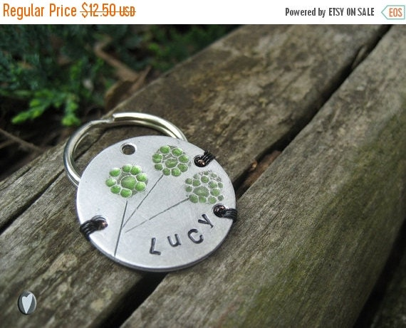 XOXO SALE // Personalized Flower Pet Id Tag - Lightweight - Aluminum - Aluminum Backer - micro chip pet