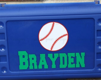 Personalized School Box -  BASEBALL Pencil Box/Art Supply Holder -  Pencil box - Most Popular Back to School Gift - Assorted Colors/Designs