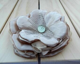 FLAX Flower hair Clip, Beige Fabric Flower, Beige Rose Hair Clip FHP-0021