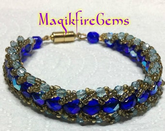 Cobalt and Turquoise Czech Bracelet