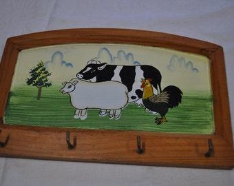 Vintage Wooden Key Rack with Farmyard Animals Design