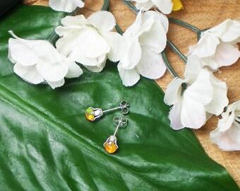 Orange Opal Stud Earrings, Finished Sterling Silver Earrings, Natural Ethiopian Fire Opal, Opal 4 mm