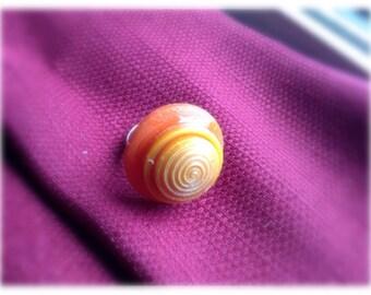 Adjustable vintage button ring orange