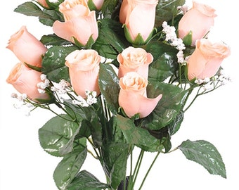 "New Artificial Peach Rose Bud Bush 18"" in length, 14 Rose Buds 2"" long x 1.5"", 12 petals, Bellini Rose Buds"