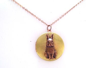 Rabbit Locket, Two Tone Locket Necklace, Vintage Brass and Copper Locket, Rabbit Necklace, Mixed Metals Bunny Locket, Copper Plated Chain