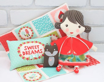 Lil Red Doll, Blanket, Pillow and Wolf, DIY Plushy Gift for Girls,
