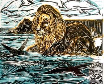Lion Rock, limited edition original block print.
