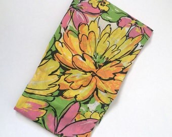 Vintage 1960s Bright Flower Power Floral Floor Lenth Curtain Panel/ Fabric