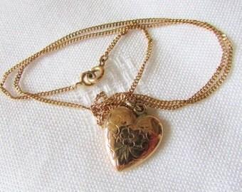 Antique Puffy Heart Art Deco Etched Flowers Pendant Necklace Antique Romantic Vintage Jewelry By Vintagelady7