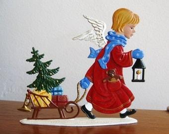 Vintage German Pewter Wilhelm Schweizer Christmas Angel Flat Figurine Decoration